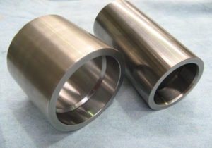 Carbide Coated Pump Sleeves PTA left - HVOF right